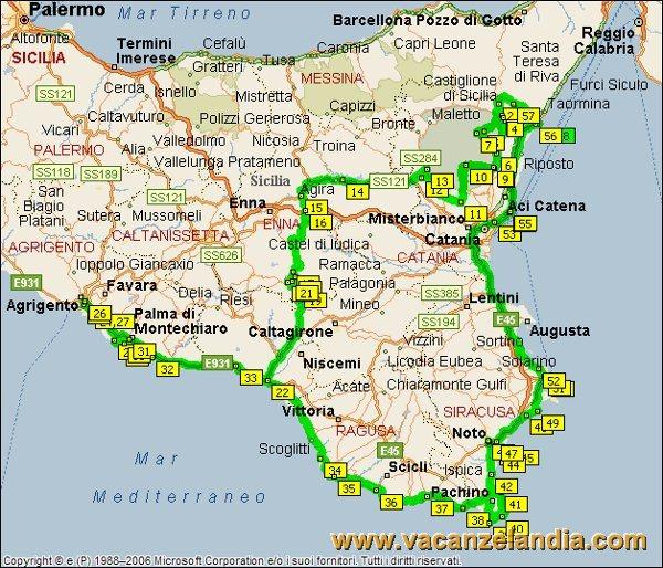 Itinerari diari di viaggio sicilia parte sud orientale contenuti mappa sicilia sud orientale 2005 thecheapjerseys Gallery