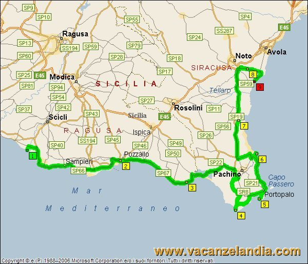 Itinerari diari di viaggio sicilia parte sud orientale 13o tappa mappa sicilia sud orientale 2005 10 altavistaventures Image collections