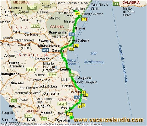 Itinerari diari di viaggio sicilia parte sud orientale 15o tappa mappa sicilia sud orientale 2005 11 altavistaventures Images