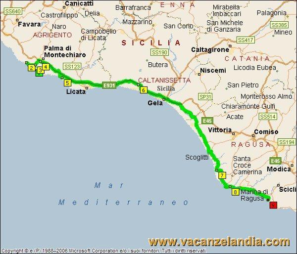 Itinerari diari di viaggio sicilia parte sud orientale 9o tappa mappa sicilia sud orientale 2005 7 altavistaventures Images